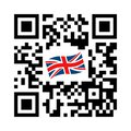 Smartphone readable QR code with United Kingdom flag icon Royalty Free Stock Photo