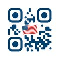 Smartphone readable QR code with USA flag icon Royalty Free Stock Photo