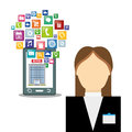 Smartphone receptionist and hotel with digital apps design