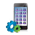 Smartphone and set of gears illustration design over white Stock Image
