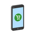 Smartphone with shopping cart, mobile shopping concept symbol.