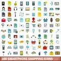 100 smartphone shopping icons set, flat style