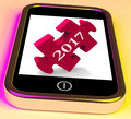 On smartphone show forecasting new year showing Royalty Free Stock Image