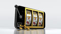 Smartphone slot machine with gold coins on white background Stock Photo
