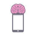 Smartphone. Smart phone with brain. Fantastic Concept technology Royalty Free Stock Photo