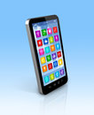 Smartphone touchscreen hd apps icons interface d mobile phone with clipping path Stock Photo