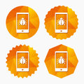 Smartphone virus sign icon. Software bug symbol. Royalty Free Stock Photo