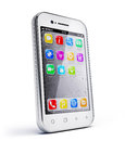 Smartphone white on white background Royalty Free Stock Image