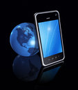 Smartphone and world globe d mobile phone on black Royalty Free Stock Photography