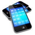 Smartphones with blue screen