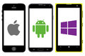 Smartphones competition illustration of apple android and windows Stock Photos