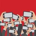 Smartphones In Hands Social Network Concept