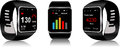 Smartwatch black touchscreen with health app icon on display Royalty Free Stock Photos