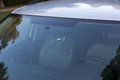 Smashed windscreen of a car damaged glass Stock Photo