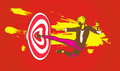 Smashing flying kick on target goal illustration congratulation you have hit the for the month Royalty Free Stock Image