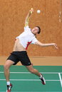 Smashing matej svab badminton in the czech extraleaugue match between sokol meteor radotin prague and tj sokol dobruska held in Stock Image