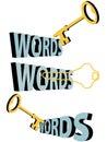 Símbolo de la búsqueda del ojo de la cerradura 3D de las palabras claves del oro de las palabras claves Imagen de archivo
