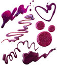 Smears of nail polish bizarre shapes in purple colors Royalty Free Stock Photography