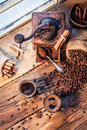 Smell of freshly brewed coffee with cinnamon on old wooden table Royalty Free Stock Photography