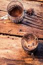 Smell of freshly brewed coffee on old wooden table Stock Photos