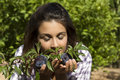 Smelling plums beautiful young woman raw of the tree Stock Photo
