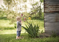 Smells like springtime little boy smelling an iris flower by an old metal shed Royalty Free Stock Photos