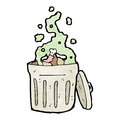 Smelly rubbish bin cartoon Royalty Free Stock Image