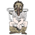 Smelly toilet an image of a man sitting on a wearing gas mask Royalty Free Stock Photography