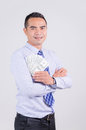 Smile asian business man showing money dollar with happiness Royalty Free Stock Photo