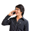 Smile asian business man speaking mobile phone on white background Stock Photos