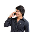 Smile asian business man speaking mobile phone on white background Stock Photography