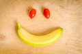 Smile with banana and tomato Royalty Free Stock Photo