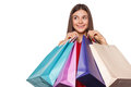 Smile beautiful happy woman holding shopping bags, sale, isolated on white background Royalty Free Stock Photo