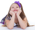 Smile of the beautiful years old girl elbows bow and isolated on white background Stock Images