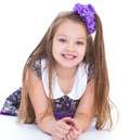 Smile of the beautiful years old girl elbows bow and isolated on white background Royalty Free Stock Images