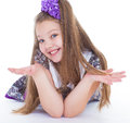 Smile of the beautiful years old girl elbows bow and isolated on white background Royalty Free Stock Image