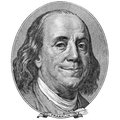 Smile of benjamin franklin enigmatic Royalty Free Stock Photography