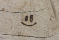 Smile burned into wood with magnifying glass Stock Images