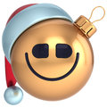 Smile christmas ball new year bauble happy santa hat smiley face icon decoration gold merry xmas holiday joyful funny character Royalty Free Stock Photography