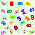 Smile colored cartoon animals background Royalty Free Stock Photo