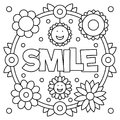 Smile. Coloring page. Vector illustration.
