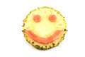 Smile face of emotion image made ​​from mix fruits on white background Royalty Free Stock Photography