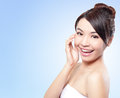 Smile face of woman happy beautiful with health skin and teeth isolated on blue background beautiful young asian model Stock Photos