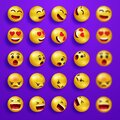 Smile faces happy emoticons. Yellow 3d emoji set. Smiley face icons with different expressions. Cartoon characters smile Royalty Free Stock Photo