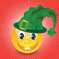 Smile in a green hat colorful illustration with for your design Royalty Free Stock Image