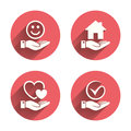 Smile and hand icon. Heart, Tick symbol Royalty Free Stock Photo