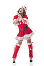 Smile happy asian christmas girl isolated full length portrait Royalty Free Stock Photos
