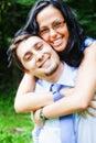 Smile of happy joyful couple embracing Royalty Free Stock Photo