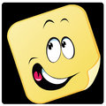 Smile a happy yellow squared face with a big Stock Image