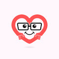 Smile heart shape and handshake symbol.Heart Care logo.